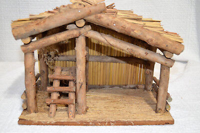 "Vintage Rustic Wooden Nativity Stable Creche 11"" x 6""x 8""."