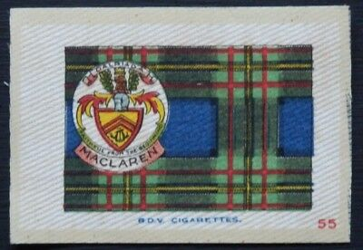 MACLAREN Clan Tartan and Coat of Arms SILK card issued in 1922