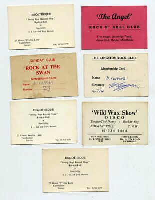 Collection of Rock n' Roll Club Membership Cards Lot #2