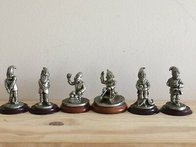 Old Unusual Collection Of 7 White Metal Gnomes