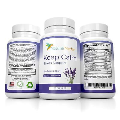 Keep Calm Natural Stress & Anxiety Relief Supplement by Natures Nectar 60ct USA!