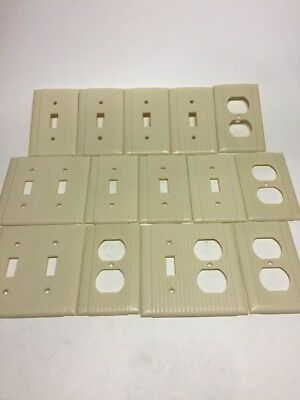 Vintage Uniline Ribbed Ivory Bakelite Light Switch Plates & Outlet Covers Lot 14