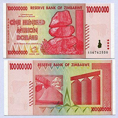 Zimbabwe 100 Million Dollars 2008 UNC, World inflation record, currency banknote