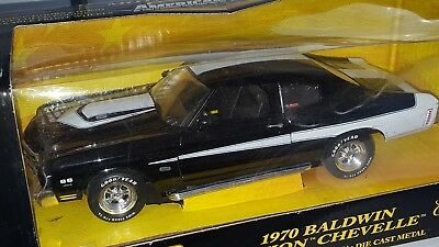 1/18 ERTL 1970 CHEVROLET BALDWIN MOTION CHEVELLE BLACK with WHITE rd