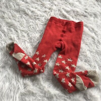 Baby Boden Tights 6-12 Month Orange Gold Star Spring Hipster Party Unisex Hip D7