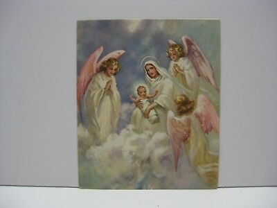 Mary Baby Jesus Angels Clouds Vintage Christmas Greeting Card