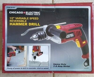 Chicago Electric 1/2 Variable Speed Reversible Hammer Drill Item 68169 NEW NIB