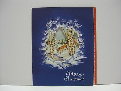 Reindeer with Cut Out Window Vintage Christmas Greeting Card