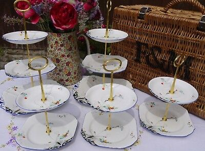 Job lot of 5 Shelley Vintage art deco  hand painted cake stands