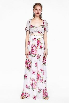 New Zara Floral Print Palazzo Trousers High Waist Pants Pink Medium M 2729/855