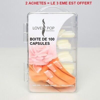 Boite 100 Capsules Tips Naturel Faux Ongle Gel Uv Vernis French Manucure Ong001