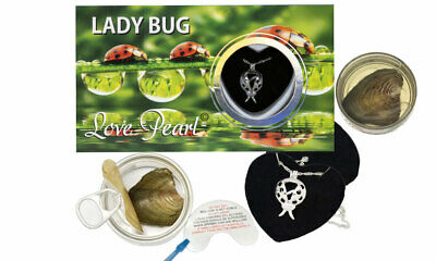 """Ladybug Love Wish Pearl Kit Cultured Pearl Necklace Set Stainless Steel 16"""""""