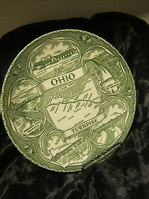 VTG SOUVENIR-Ohio Turnpike Collector Plate Green and Cream COLORATION MADE IN OH