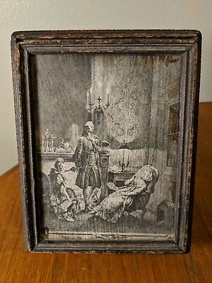 Antique Victorian Carved Wooden Jewelry Box w Mirror & Georgian Litho Top