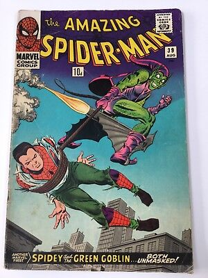 "THE AMAZING SPIDER-MAN ORIGINAL US MARVEL COMIC ""Spidey & the green goblin"" #39"