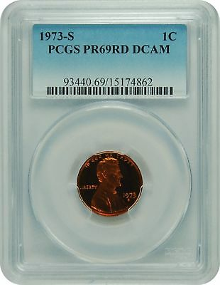 1973-S PCGS PR69RD DCAM Lincoln Cent FADED LABEL