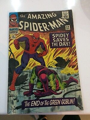 "THE AMAZING SPIDER-MAN ORIGINAL US MARVEL COMIC #40 ""Spidey saves the day"" 1966"