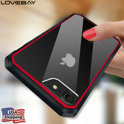 For iPhone 8 7 Plus Heavy Duty Shockproof Rubber Hybrid Clear Hard Cover Case