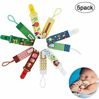 Baby Pacifier Holder Strap Dummy Clip - 5 Pack - JamHooDirect Best Washable Soot