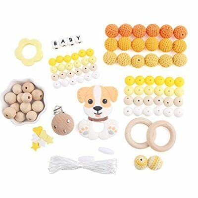 Baby Tete Baby Silicone Teether Beads Wooden Dummy Clips Teething Toys for Babie