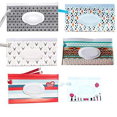 Reusable Wet Wipe Pouch [Set of 6] - Stripe Dispenser for Baby Or Personal Wipes