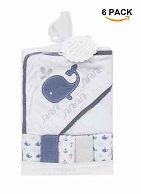 Ataya Baby Hooded Towel Washcloth Set, Cotton Cute Animal Appliques, 51 Pack wh