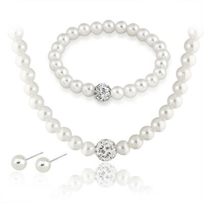 Faux White Pearl Necklace Bracelet and Earring Set Wedding Bridesmaid Women Girl