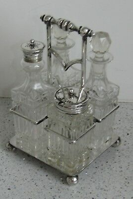 Antique ENGLISH Sheffield WALKER & HALL Old SILVER P. & GLASS CRUET Serving SET