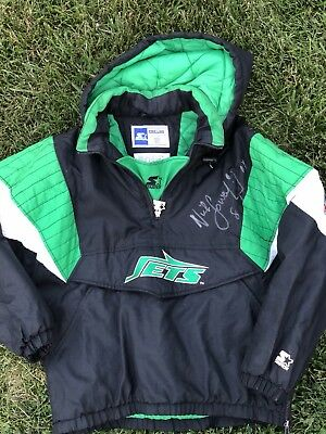 Vintage New York Jets Pullover Starter Jacket Nick Lowery Autograph Signed XL