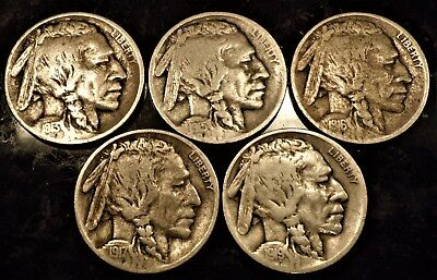 Set Of Teen Buffalo Nickels  1913 Type1 1915, 1916,1917,1919 Full Date Some Horn