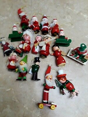 Vintage wooden ornaments Santa Lot of 17 Mrs Claus Nome Christmas resin multi