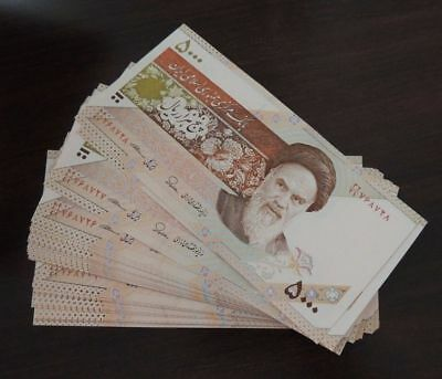 5 x 5000 Serie Iranian Iran Rial Khomeini Collectible Uncirculated Paper Money