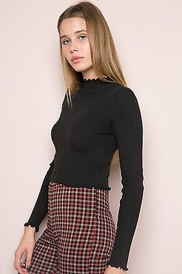 ed9c777391986 LAST ONE! BRANDY melville crop black wash Samantha Metallica top sz ...