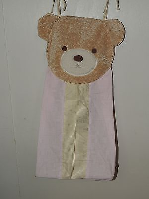 Kidsline Teddy Bear Diaper Stacker Pink Gingham Tan Plush