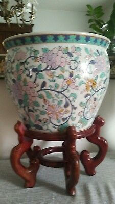 Large Asian Ceramic Planter - Hand Painted Pastel Floral Design with hand painte