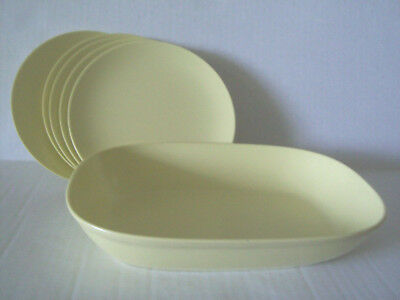 TEXAS WARE Melmac Melamine 117 Yellow Bowl & 5 bread plates G 7