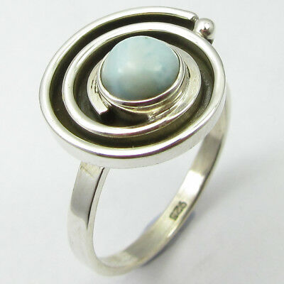 925 Sterling Silver Larimar Art Nouveau Style Ring