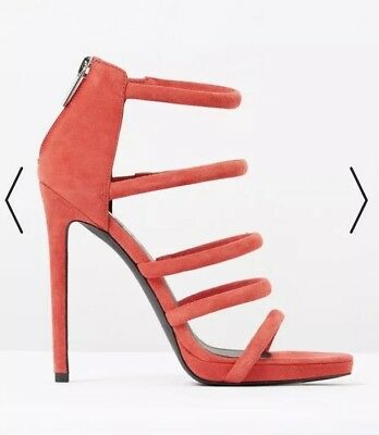 RMK Heels SANDALS 41 10 red Leather stilettos strappy high shoes party wedding