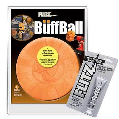 "Flitz PB 101-50 Orange Buff Ball 5"" with 1.76 oz Paste Polish"