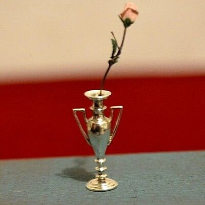 Miniature Sterling Silver Vase and Rose Dollhouse 1:12 Artist Peter Acquisto