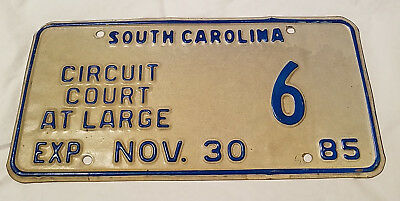 1985 South Carolina Circuit Court At Large Plate – Very Rare! Nr!