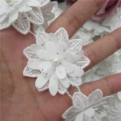 5X White Flower Pearl Lace Trim Wedding Ribbon Embroidered Applique Sewing Craft