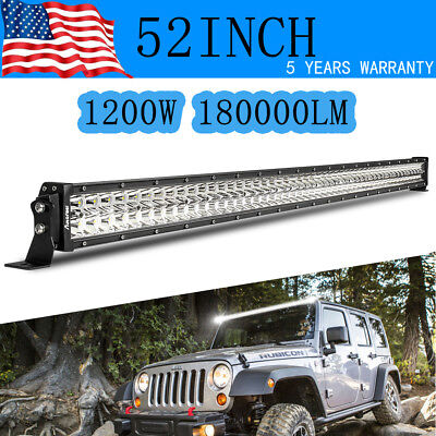 52 inch LED Light Bar Off Road Truck Driving Fog Boat Ford Jeep 4X4 UTE SUV 50
