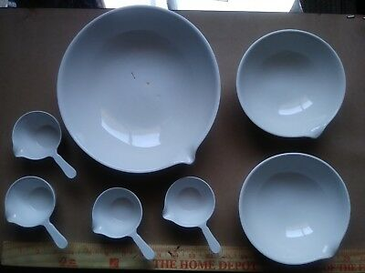 Vintage Coors Ceramics White Pharmaceutical Cooking Mixing Bowls RARE