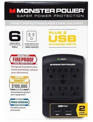 Monster Surge Protector with 6 Power Outlets 2 USB Ports — Black. 650 Wall Mount