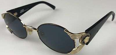 7e9656ccd5 1990s Vintage Gianni Versace Sunglasses MOD S65 COL 16L Made Italy Gold  Shield
