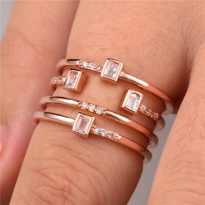 Fashion Rose Gold Filled Women's Wedding Rings Jewelry White Sapphire Size 6-10