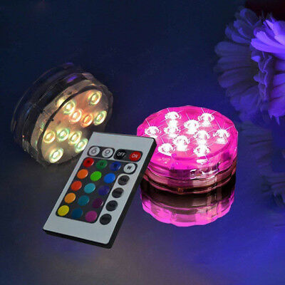 1/2/4/10 Pcs 10LEDs RGB Submersible Pond Light with IR Remote Swimming Pool SPA