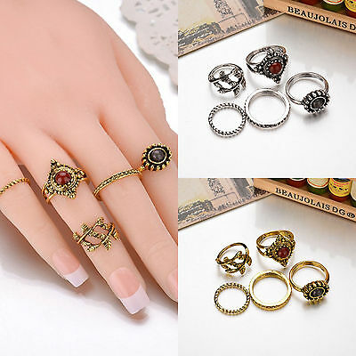Gold Silver 5Pcs/Set Tree Branch Alloy Finger Knuckle Band Ring Women Jewelry