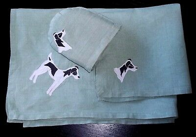 Vintage Art Deco Place mat Napkin Egg Cosy Embroidered Terrier Dog Table Setting
